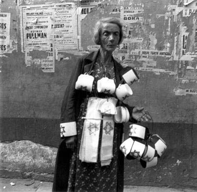 Warsaw, Poland, 19.09.1941, A Woman Selling Armbands in the Ghetto