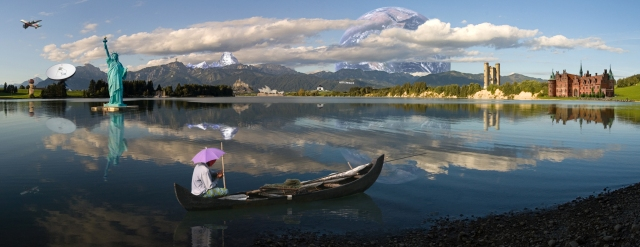 Photomontage (Forggensee Panorama), composite of 16 freely licensed photos.